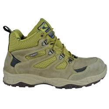"""Chaussures de sécurité Hautes de marque COFRA modèle """"CREVASSE"""" normé S1 P SRC vu de coté coloris gris beige vert, vue de profil"""
