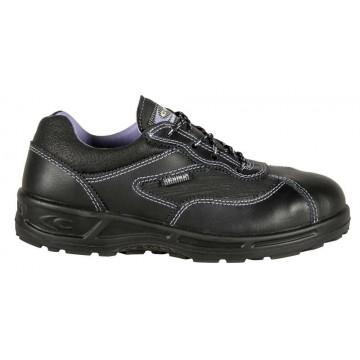"""Chaussures de sécurité pour femme en cuir basses """"SOPHIE"""" normé S3 SRC coloris noir vue de coté"""
