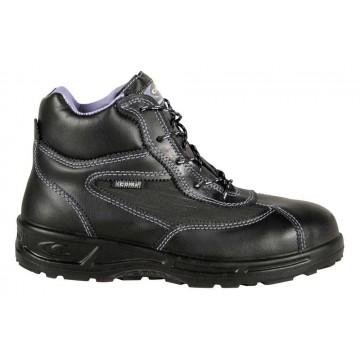 """Chaussure de sécurité en cuir hautes pour femme normé S3 SRC modèle """"BRIGITTE"""" vue de coté"""