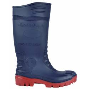 """Demi-Bottes en PVC Nitrile normé S5 SRC modèle """"TYPHOON"""" de marque cofra coloris bleu & rouge vue de profil"""