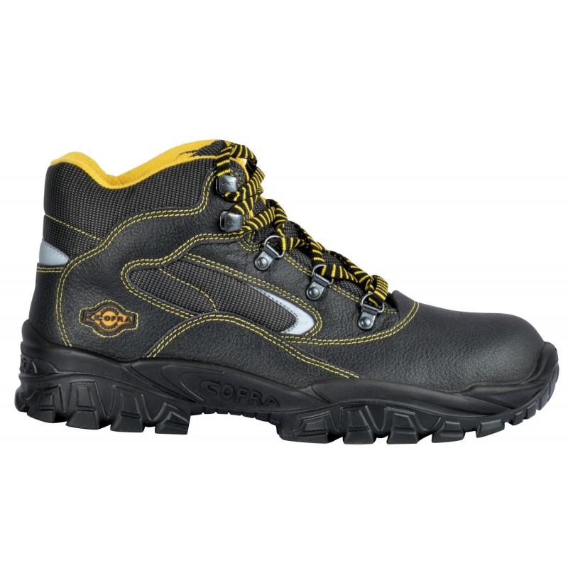 """Chaussures de sécurité Hautes de marque COFRA """"EUFRATE"""" en cuir coloris noir finition jaune hydrofuge normé S3 SRC vu de profil"""