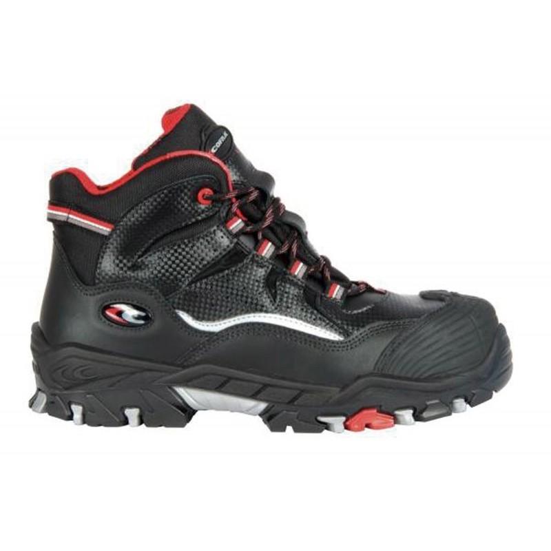 """Chaussures sécurité Hautes de marque COFRA """"SARGON"""" normé S3 SRC, coloris noir et finition rouge"""