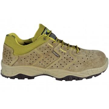 """Chaussures sécurité basses marque COFRA """"HANDLE"""" normé S1 P SRC coloris gris beige vert, vue de profil"""