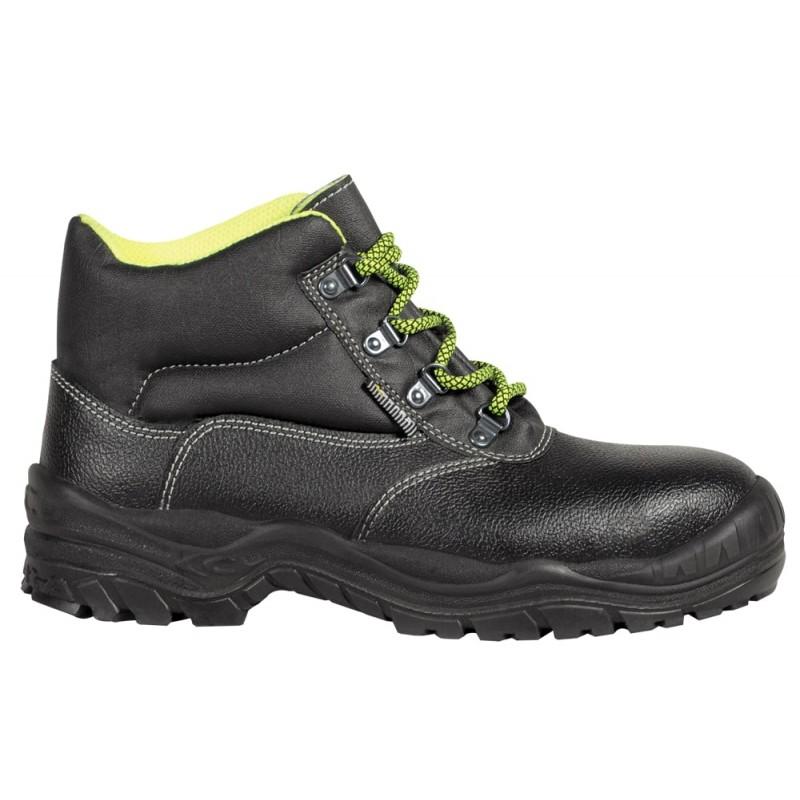 Chaussures de sécurité Hautes de marque COFRA modèle RIGA normé S3 CI SRC coloris noir finition rouge vue de coté