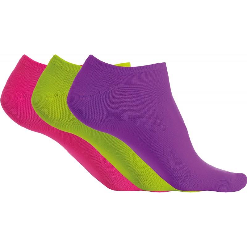 Pack de 3 paires, Socquettes microfibres violet/vert/rose