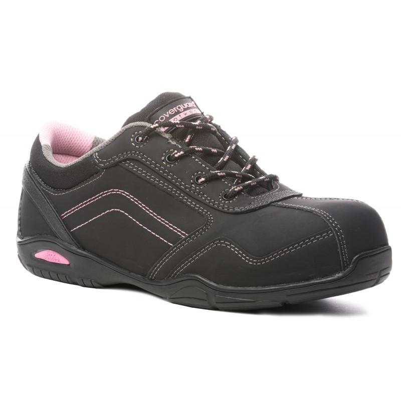 """Chaussures de sécurité hautes sport respirant 0% métal de marque Coverguard """"Rubis"""" normé S3 hro sra coloris noir finitions rose"""