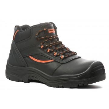 """Chaussures de sécurité en cuir respirant de marque Coverguard modèle """"PEARL"""" normé S3 SRC vue de face 3/4 coloris noir"""