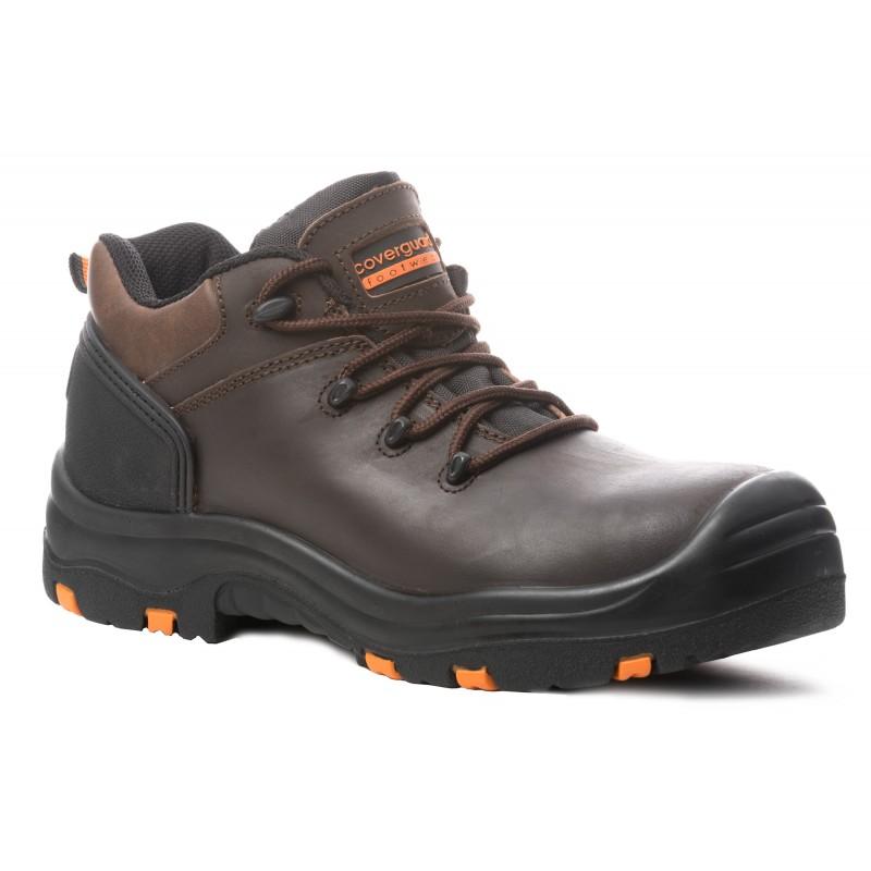 """Chaussures sécurité basses en cuir Coverguard """"TOPAZ"""" coloris marron normé S3 SRC HRO"""