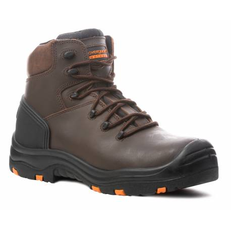Chaussures sécurité hautes en cuir de couleur marron de marque coverguard modèle TOPAZ vue de face 3/4