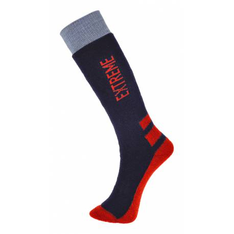 "Chaussettes Hiver ""Froid Extrême"" Marine/rouge"