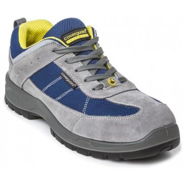 Basket de sécurité ultra légère 0% métal de marque coverguard modèle lead coloris gris et finition bleu et jaune vue de dessus