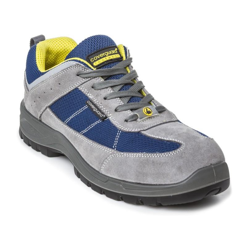 Basket de sécurité ultra légère 0% métal de marque coverguard modèle lead coloris gris et finition bleu et jaune vue de face 3/4